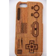Arbre Motif Rétro Style Bois pour iPhone Étui avec Laser Graver Bois De Bambou Cherry Wood Cove