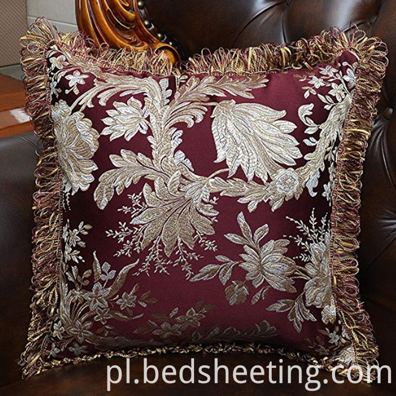 Red Cotton Damask Pillow Covers