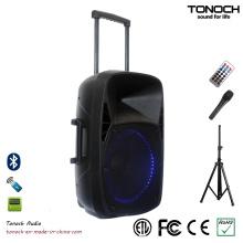 15 Polegadas PA Speaker Som Ao Ar Livre com Luz LED Azul