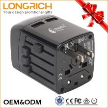 Multi-funcional World travel adaptador eléctrico con doble puerto USB universal enchufes