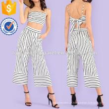 Listrado Tie Back Top Colheita Com Calças Perna Larga Fabricação Atacado Moda Feminina Vestuário (TA4114SS)
