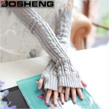 Женщины зимние теплые рукавицы запястье руки теплые без пальцев длинные трикотажные перчатки