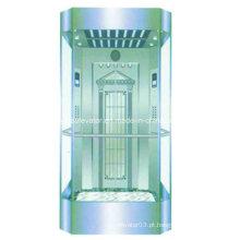 Elevadores sem observação de máquina com parede de cabine de vidro cheio
