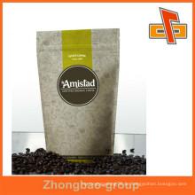 Gravure Printing Oberflächenbearbeitung und Reißverschluss Top Sealing & Handle Aluminiumfolie Reißverschluss Kaffeebeutel