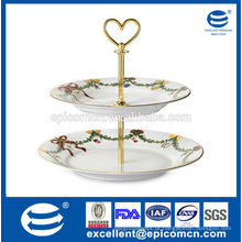 Fiesta ware para festa de Natal 2 camadas de bolo de cerâmica stand