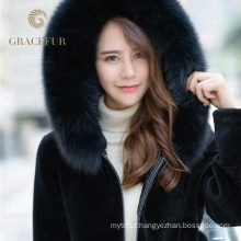 Latest Arrived Women short Elegant Genuine Leather Fur Jacket Double Face Coat with Fox Fur Trimming