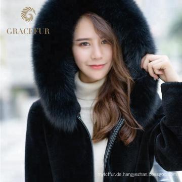 Späteste angekommene Frauen schließen elegantes echtes Leder-Pelz-Jacken-doppelten Gesichts-Mantel mit dem Fuchspelz-Zutat ab