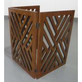 Wood 3 panel die cut folding pet gate