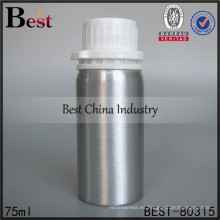 Botella de aluminio mini de 75 ml con tapa de plástico, botellas de aluminio cosmético de alta calidad