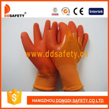 Orange Nylon PVC Dipping Glove Working Gloves Dnl511