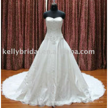 2012Elegant Lace A-line design borda vestidos de noiva online