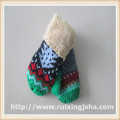 children knitted Chrismas tree pattern gloves with fleece lining