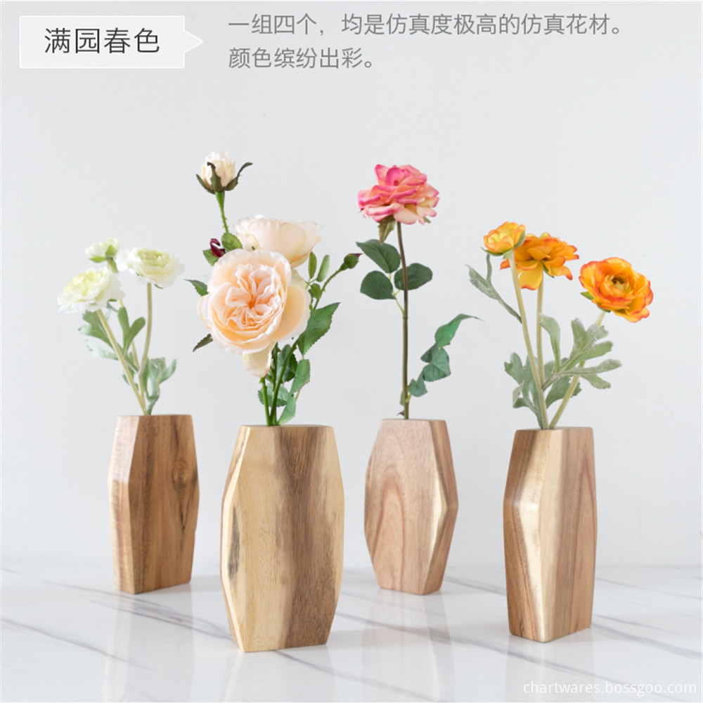 plastic flower wooden vase standing