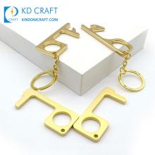 Protective Copper Non Contact Hands Free Brass EDC Hook Door Knob Opener Stylus Keyring Metal Portable Door Opener Keychain