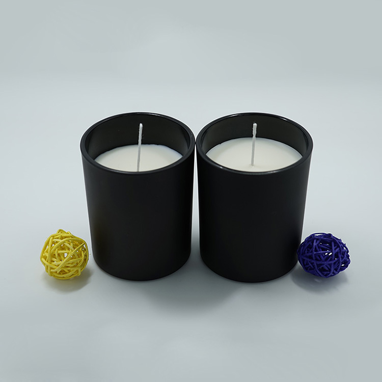 Candles in Black Glass Jar
