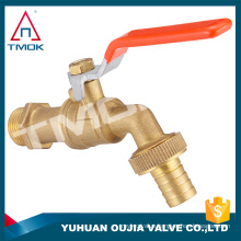 "nature brass color lever iron handle polo wall mounted 1/2*3/4"" basin copper ball brass tap/faucet/bibcock in yuhuan china"