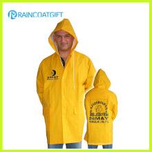 Veste de pluie jaune de PVC de polyester de PVC Rpp-036