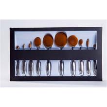10PCS Sliver Handle Makeup Toothbrush Oval Makeup Brushe Set