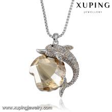 necklace-00413 xuping animal collier, collier dernier cri avec pendentif en cristal et dauphin en forme de coquillage Swarovski pour femme