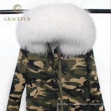 Chine en gros femme hiver parka fourrure parka manteau raton laveur à capuchon avec doublure de fourrure