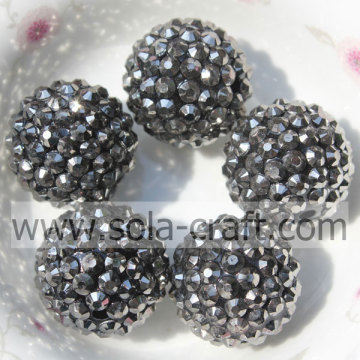 Factory Price Lead Black 20*22MM Solid Resin Rhinestone Ball Beads