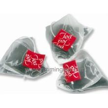 Teabag biodegradável da pirâmide para o chá cheio da folha