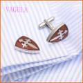 VAGULA Stylish French Shirt Stainless Steel Red Wood Cufflinks 128