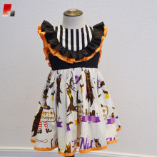 Girls black and orange pumpkin print Halloween dress