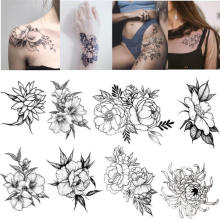 Black Elegant Flower Tattoo Stickers Female Waterproof Line Simple Tattoo Stickers Long Lasting Chest Ankle Clavicle