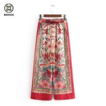 2019 Women Fashion Floral Pants Ladies Casual Wide-leg Trousers