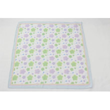 viscose quality green and purple flower pattern printed little square scarf for women can match the dress to do adornment