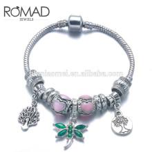 Pulsera de moda fabricante OEM a granel logotipo personalizado cristales mujeres 925 pulsera de encanto de cadena de plata esterlina / latón