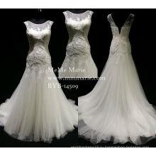 Элегантный Фиштейл милая аппликация свадебное платье свадебное платье с декольте без рукавов БЫБ-14509