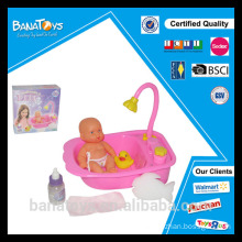Funny baby doll bathing toy set with bathtub bath duck toy