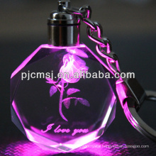 Crystal Rose Keychain with Led Light For Wedding Souvenirs
