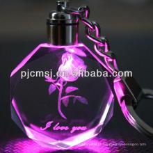 Chaveiro de cristal rosa com luz Led para lembranças de casamento