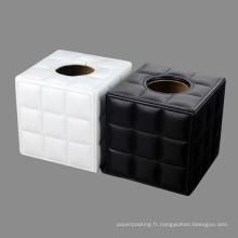 Boîtes à papier en tissu en cuir à grille côtelée