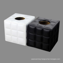 Fine Stitched Grid Leather Tissue Paper Boxes
