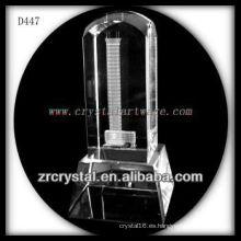 Imagen láser 3D K9 dentro de la tapa redonda de cristal