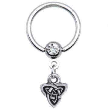 Calibre 14 celta tríada cuelgan cautivo anillo