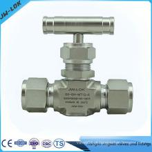 Válvula de agulha de gás de dupla férula de alta pressão