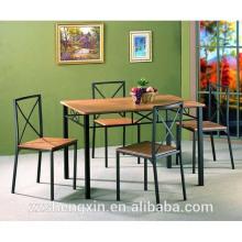 Tablero de la mesa MDF 1 + 4 mesa de comedor Silla de acero tubo para el hogar