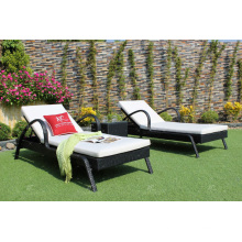 Top selling Outdoor Garden Furniture High Quality Poly PE Rattan Sunbed with side table