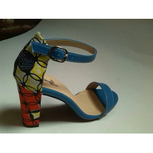 African Printed Fabric Peep Toe Sandal Shoes (HCY02-1481)