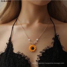 Necklace with Pearl Sun Flower Fashion Sunflower Pendant Sweater Accessories