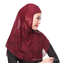 2017 Elegancia boda musulmán de encaje de color sólido hijab instantánea cap y bufanda twinset
