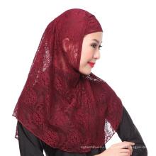 2017 элегантность мусульманские свадебные сплошной цвет кружева мгновенный хиджаб шапка и шарф twinset для женщин