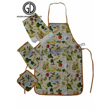 High Quality Kitchen Cooking Colorful Fruit Pattern Apron with Glove