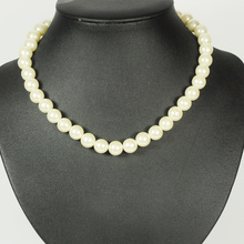 White Plastic Pearl Bead Necklace