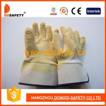 Luvas de trabalho de dobra de látex amarelo, algodão ou forro de jersey (DCL413)